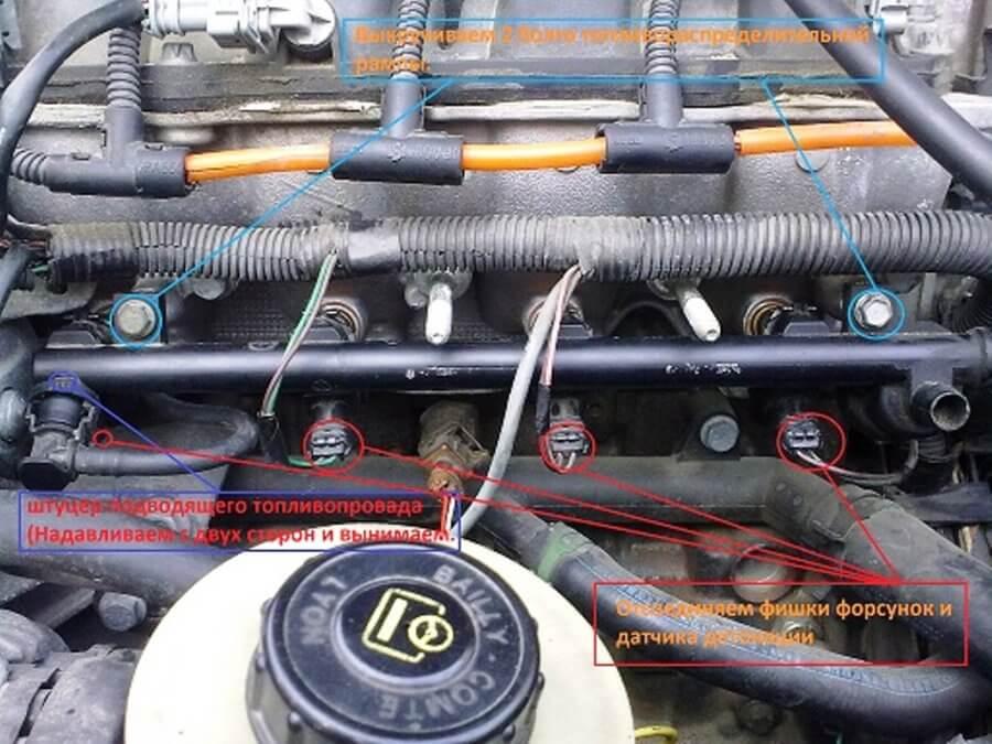где находятся форсунки и как их снять с двигателя рено логан